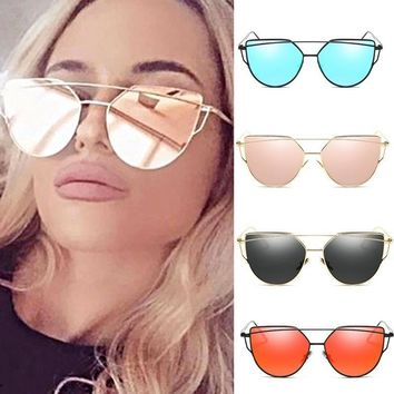 iMucci NEW Brand Design Cat Eye Sunglasses Women Metal Frame Flat Double Bridge Sun Glasses Vintage Mirror Shades