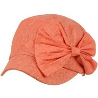 Cool Summer Big Ribbon Bow Military GI Castro Cadet Cabbie Elasitc Cap Hat Coral