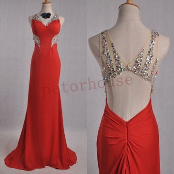Red Beaded Sexy Long Prom Dresses, Bridesmaid Dresses, Party Dresses, Homecoming Dresses ,wedding Party Dress , Bridesmaid Dress,Formal Wear