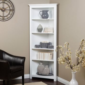 Finley Home Redford Corner Bookcase - White | www.hayneedle.com