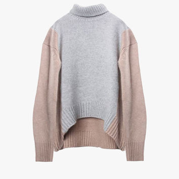 High Low Wool Blend Sweater