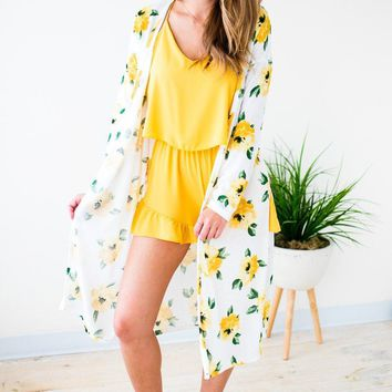 Botanical Affair Floral Long Cardigan
