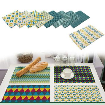 8-Style Placemat Fashion Cotton Linen Printed Dining Table Mat Disc Pads Bowl Pad Coasters Table Cloth Pad Slip-resistant Pad