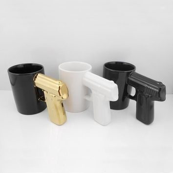 Creative Ceramic Coffe Mug with Handle Pistol Handle Cups Glassware Drinkware Hot Sale