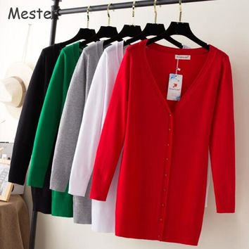 Elegant Women Long Cardigan Long Sleeve Plus Size Cardigan Casual V Neck Knitted Loose Buttons Cardigans Shrugs Spring Knitwear