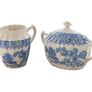 Vintage Cream Pitcher and Sugar Bowl with Lid Blue and Creamy White Porcelain with Gold Trim TUPPACK China Blau Tiefenfurt Collectible Gift