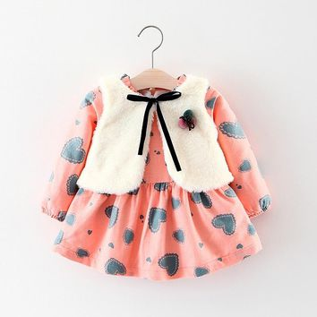 BibiCola newborn baby girls clothing sets spring autumn toddler faux fur vest+dress 2pcs
