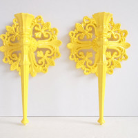 Candle Sconce Set Of Two Vintage 1978 Ornate by IntenseInteriors