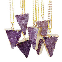 Triangle Amethyst Druzy Pendant Necklace - Amethyst Necklace - Druzy - Pendant Necklace - Raw Amethyst Cluster - Gold Dipped - Triangle