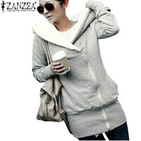 ZANZEA Womens Hoodies Coat Winter Autumn Warm Fleece Coat Zip Up Outerwear Hooded Sweatshirts Casual Long Jacket Plus Size
