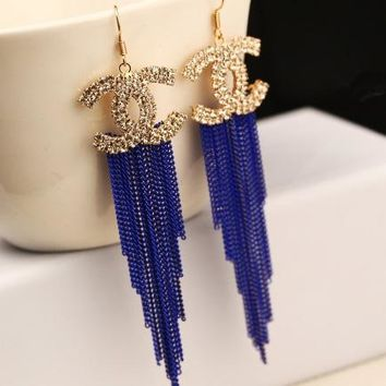 Chanel personality large long style earrings fringe exaggerated fashion temperament earrings retro earrings earrings earrings