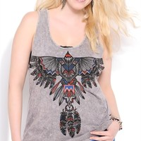 Plus Size Mineral Wash Tank Top with Aztec Eagle Screen