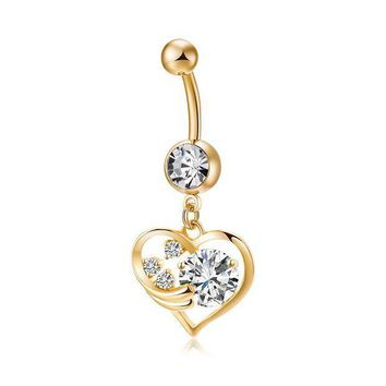 ac PEAPO2Q Fashion Love Heart belly button rings Bar Gold Color Surgical Metal Piercing Sexy Body Jewelry for women CZ navel piercing rings
