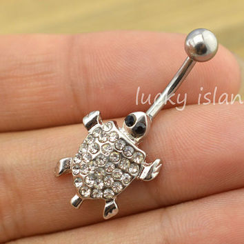 belly button jewelry,glitter turtle belly button rings,fabulous  tortoise navel ring,piercing belly ring,friendship gift