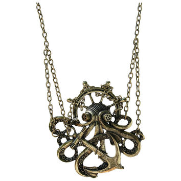 Steampunk Octopus Chain Anchor Necklace