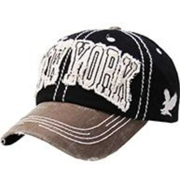 NEW YORK BLACK DISTRESSED AND FADED  HAT CAP Old School Baseball  Unisex Adj One Size