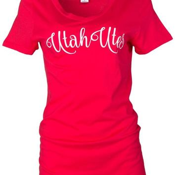 Official NCAA University of Utah Utes The U U of U Swoop Women's Short Sleeve Lex Span V-Neck