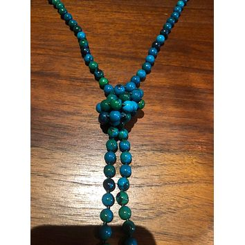 hand knoted vintage malechite azurite beaded necklace