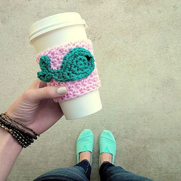 "Crochet Cup Cozy For Coffee Cups, Tumblers, and Mason Jars - ""I Whale Always Love You"" Cup Sleeve"
