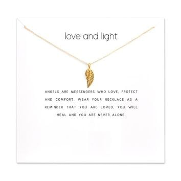 2018 New Angel Wing Pendant Short Chain Choker Necklace For Women Golden Heart wish necklace with card Jewelry As gift LOVE
