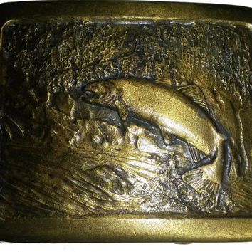 vintage belt buckle TROUT FISHING bass fish fisherman 1977 Indiana metal craft
