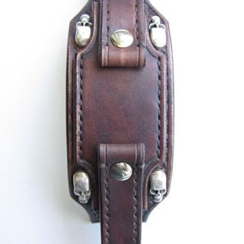 Leather watch strap, biker watch strap,  24mm watch strap, vintage brown watch cuff