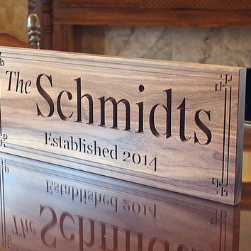 Parents Anniversary Gift, Family Name Sign, Personalized Sign, Custom Wedding Sign, Engagement Date Sign, Benchmark Custom Signs, Walnut BB