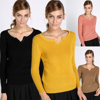 New Fashion Womens Knit Sweater Outerwear Crew Pullover Jumper Tops solid color F_F