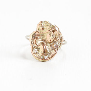 Antique 10k Rose Gold Art Nouveau Woman Ring - Vintage Early 1900s Edwardian Fine Gibson Girl Stick Pin Conversion Jewelry