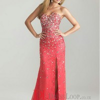 A-Line Sweetheart Chiffon Watermelon Long Prom Dress/Evening Gowns With Beading VTC816