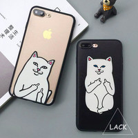 Funny Cartoon Cat Case For iphone 7 Case For iphone7 PLus 6 6S 5 5S Phone Cases Cute Grumpy Animal Middle Finger Back Cover Capa -JMJewelry