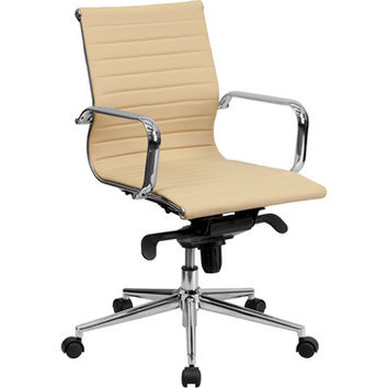 Flash Furniture Mid-Back Tan Ribbed Upholstered Leather Conference Chair - BT-9826M-TAN-GG