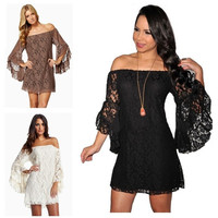 NEW Sexy women  LOOSE Lace off  shoulder Floral Strapless mandarin sleeve Prom Party Cocktail Mini Dress Shirt S-XXL = 5710278977