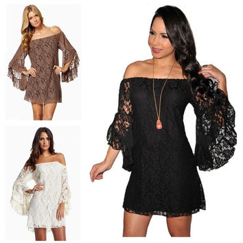 NEW Sexy women  LOOSE Lace off  shoulder Floral Strapless mandarin sleeve Prom Party Cocktail Mini Dress Shirt S-XXL = 1704238020