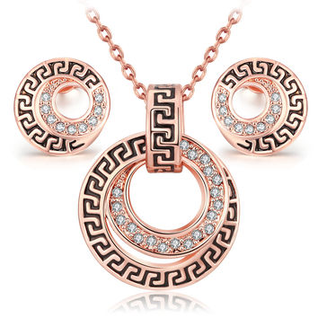 parure costume jewelry sets bijoux ensemble vintage platinum 18k Rose Gold fashion classic crystal necklace earring set women