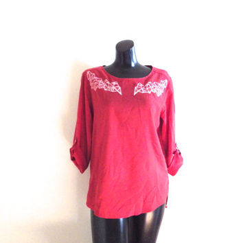 Upcycled, Red, Bohemian, Crystal Cluster, Blouse