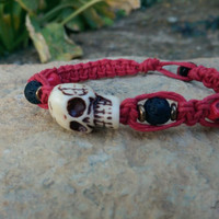 Large Carved Skull, Red Hemp, Men's Bracelet, Gift for Him, Gift, Christmas Guy Gift, Winter Trend, FREE Shipping in USA
