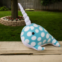 Narwhal Plush in Blue with White Polka Dots - GIANT