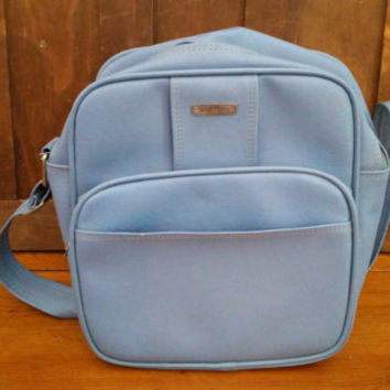 Vintage Blue Samsonite Carry On Overnight Weekender Flight Bag Luggage