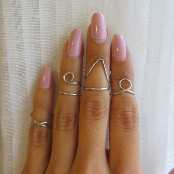 Silver Midi Above the knuckle rings -  Set of 4 Amuminum wire wrap jewelry