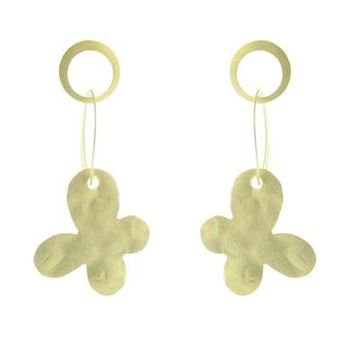 14K Yellow Gold Plated Silver Dangling Hammered Butterfly