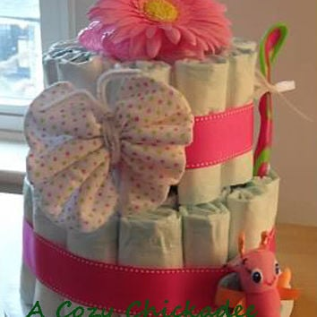 Pink Diaper Cake for Baby Girl