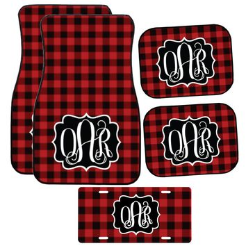 Buffalo Plaid Car Mat /Plate & Frame / Seat belt cover / Key Chain / Car Coaster / Car Accessory Gift  Set
