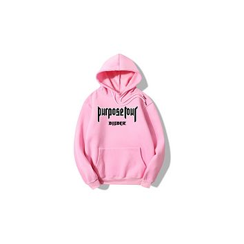 Justin bieber Purpose Tour is a cotton padded hooded hoodie Pink black