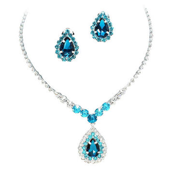 Stunning Y Drop Clip ON Aqua Blue Turquoise Crystal Bridal Necklace Bridesmaids E0