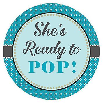 She is Ready to Pop Sticker Labels in Blue Circles - Set of 30