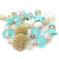 Turquoise Starfish Curtain Tiebacks