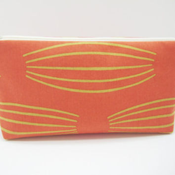 Coral Cosmetic Bag, Coral Chevron Zippered Pouch, Coral and Gray Chevron