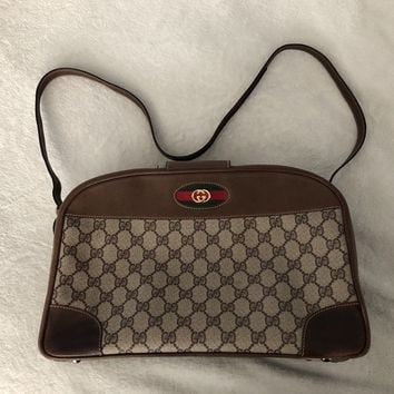 Vintage GUCCI Brown Web Boston Doctor Bag Satchel Purse Handbag