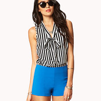 Essential Striped Tie-Front Top